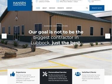 Hansen Construction--- WordPress Development