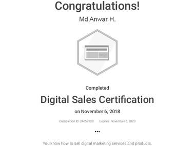 "Got Certified on ""Digital Sales"" by Google!"