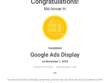 "Got Certified on ""Google Ads Display"" by Google!"