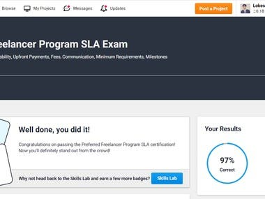 Completed Preferred Freelancer Exam