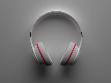 3D visualization: wireless bluetooth headphones