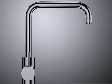 Product design renderings of a modern kithen faucet