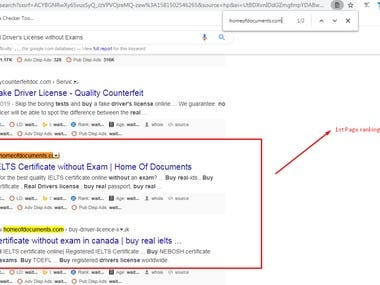 1st Page Ranking on Google.com (USA)