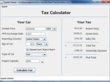Tax Calculator Applet