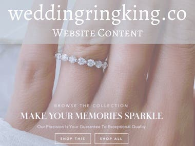 All content for wedding ring website