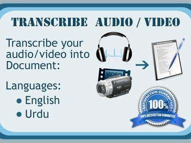 Transcribe audio or video in English and Urdu