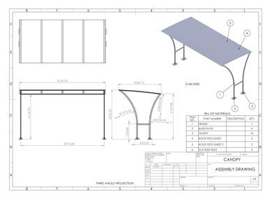 CANOPY - MODELING AND ENGINEERING DRAWING IN SOLIDWORKS