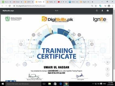 Quick Books Training Certificate