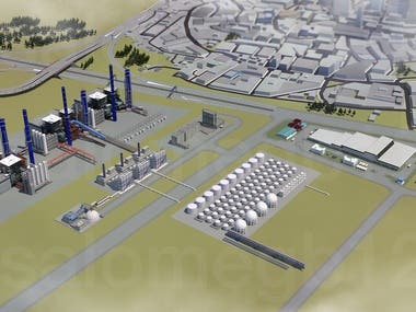 3D Illustration for Hydrogen Power Plant and Industrial Park