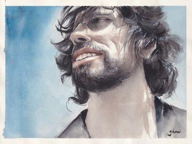 portrait painting - watercolor