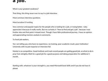 For fresh job seekers, with no experience, with poor result,