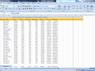 Calculate Salary Sheet Of Lexon Company. (USA)