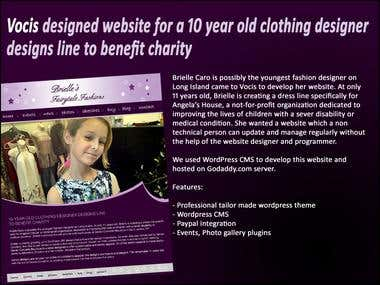 Vocis designed website for 10 yr old clothing designer