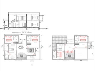 2890 sq feet Residence plan 2d Architectural Drawing