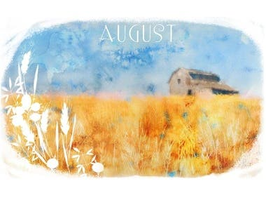 watercolor landscapes, architecture. watercolor calendar.