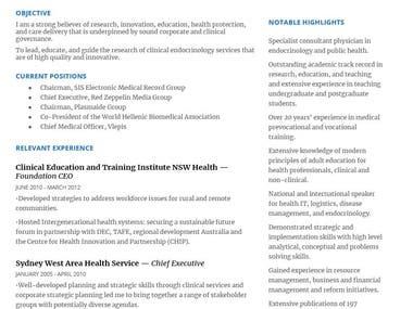 CEO & healthcare leader resume