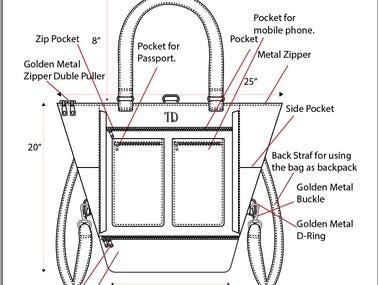 Tech pack of Travel Bag Design