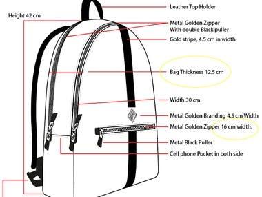 Tech pack of Nylon Backpack Design.