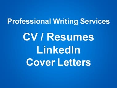 CV, Resumes, LinkedIn Profiles and Cover Letters