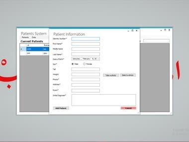 Patient Database along with Desktop Application