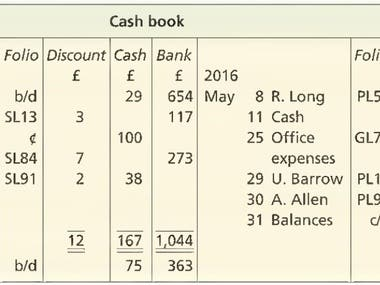 CASH BOOK; Book-keeping for clients