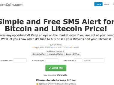 Warncoin - SMS Vigilant for Bitcoin and Litecoin Price