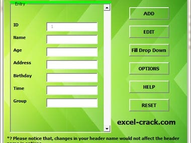 Excel Data Entry Form