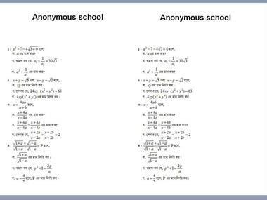 Mathematics Questions Type