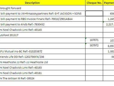 Bank Statement conversion from pdf to excel