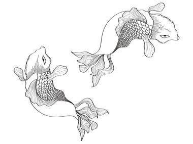 Creative line art of fish pair
