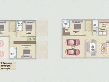 2D Coloured Layout House Plan
