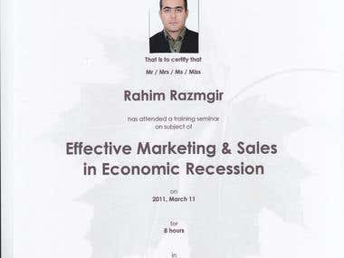 Marketing and sales certificate