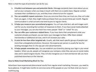 Email marketing Article Sample -- For Sale