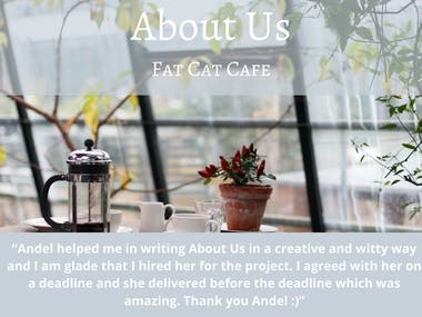 About Us for Fat Cat Cafe