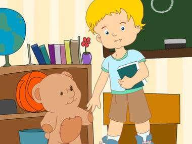 Teddy goes to school