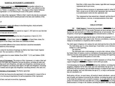 Legal Writing - Marital Settlement Agreement