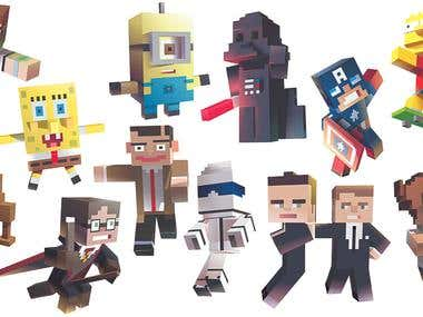 Minecraft-ed characters