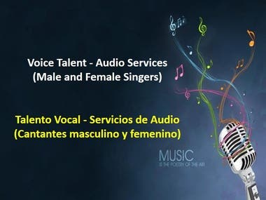 Voice Talent (Male and Female Singers) - Audio Services