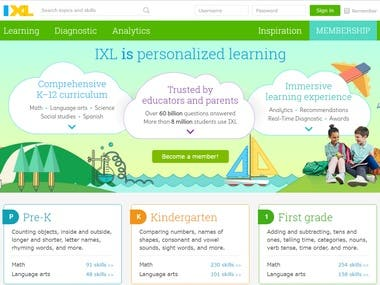 Angular Math/English Education Site - ixl.com