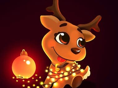 Xmas baby deer illustration