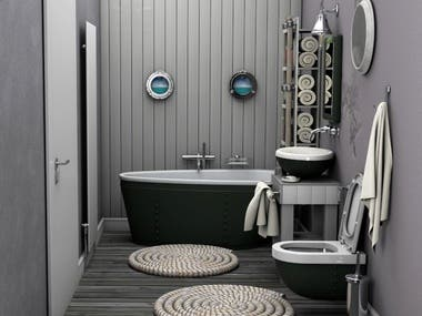 Layout and interior design of the Bathroom.