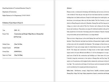 Preliminary Project Report
