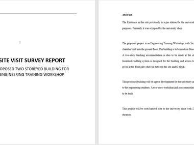 SITE VISIT SURVEY REPORT