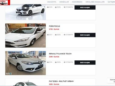 Rent a Car Website with Admin Panel