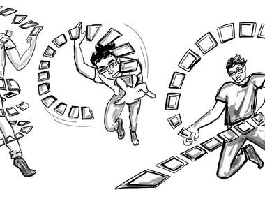Black & white illustration for projects