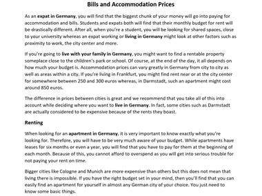 Bills and Accomodation Prices