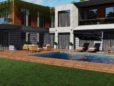 Modern Villa Model and Render