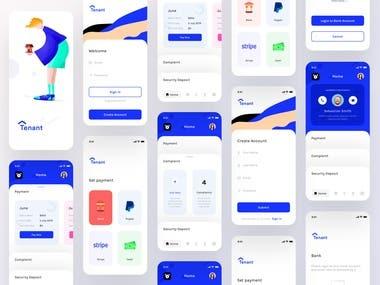 Tenant app screens Wireframes Screens Flow