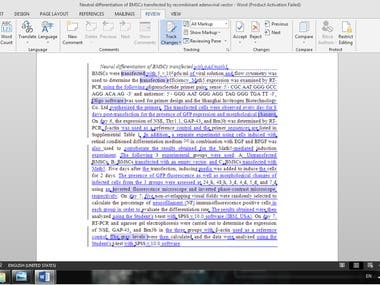 Scientific Manuscript (editing)