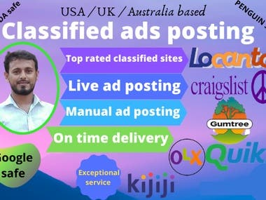 I will post classified ads in USA based top rated sites